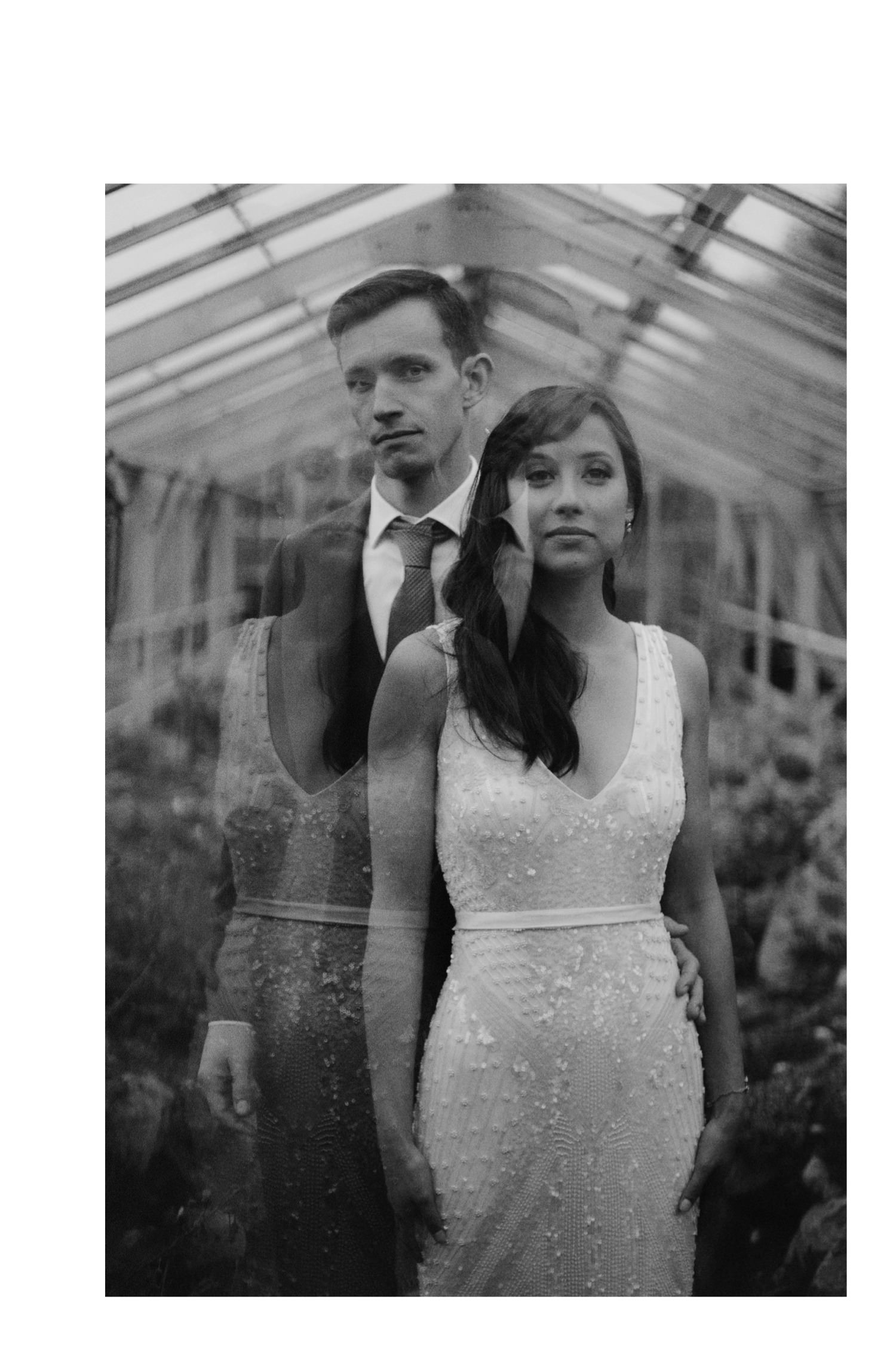 artistic double exposure photo of bride wearing beaded dress in greenhouse