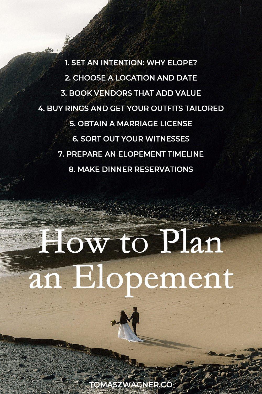 how to plan an elopement checklist